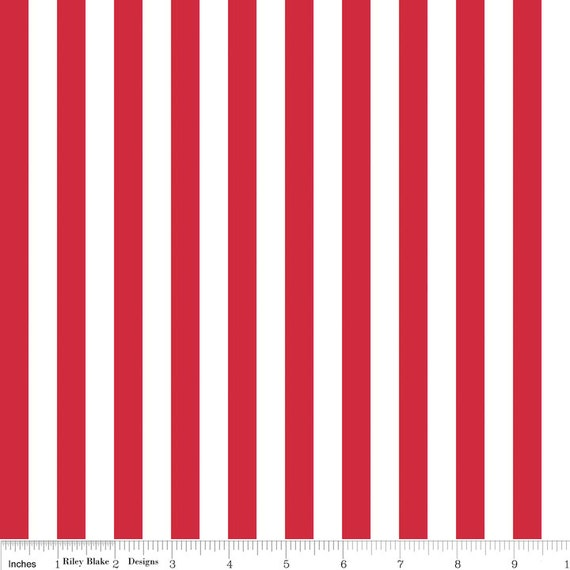 Red Stripe Fabric Riley Blake Red And White 12 Inch Etsy