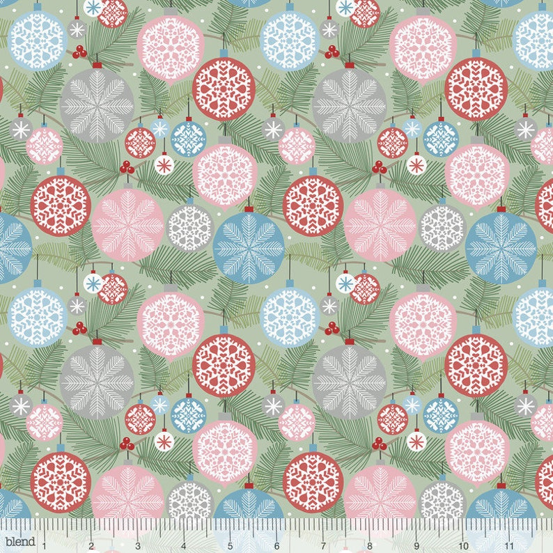 Christmas Fabric Deck the Halls Light Green from image 0