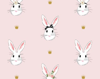 Easter Bunny Fabric - Riley Blake - DOUBLE GAUZE - Wonderland 2 by Melissa Mortensen. Pink Rabbit with Gold - 100% cotton