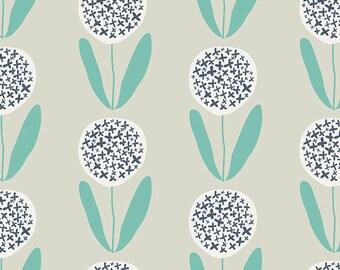 Candied Lollies Mint Fabric - Curiosities by Jeni Baker - Art Gallery. Navy & Aqua Flowers. 100% cotton. CUR-29139