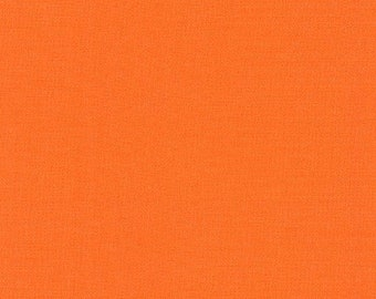 "Orange Kona ""Carrot"" Fabric by Robert Kaufman. 100% cotton fabric.  Medium Bright Orange Solid Fabric. K001-400"