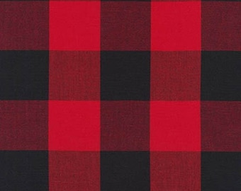 "Red and Black Two Inch Plaid Fabric from Robert Kaufman. Carolina Gingham 2"" - Red Black Check Checkers - 100% cotton. P-16725-93 SCARLET"