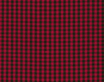 Red and Black Woven Plaid Fabric from Robert Kaufman. Carolina Gingham 1/8 inch - Red Black Check Checkers - 100% cotton. P-5689-93 SCARLET