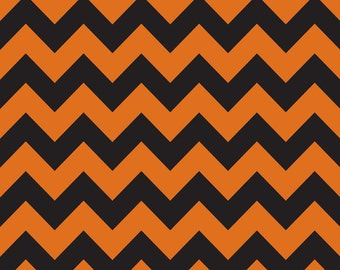 Orange and Black Medium Chevron Fabric by Riley Blake Designs. Great for Halloween.  100% cotton, c380-02