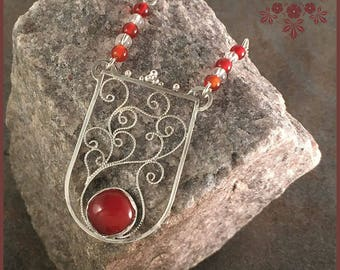Carnelian Sterling Silver Filigree Necklace