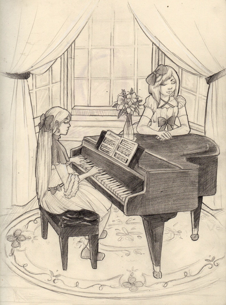 Piano Lessons-Original Pencil Drawing