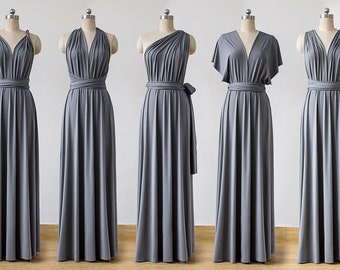 b2831907fcfe Convertible Bridesmaid Dress, dark gray Infinity Dress, prom dress, Multiway  Dress, Wrap Dress