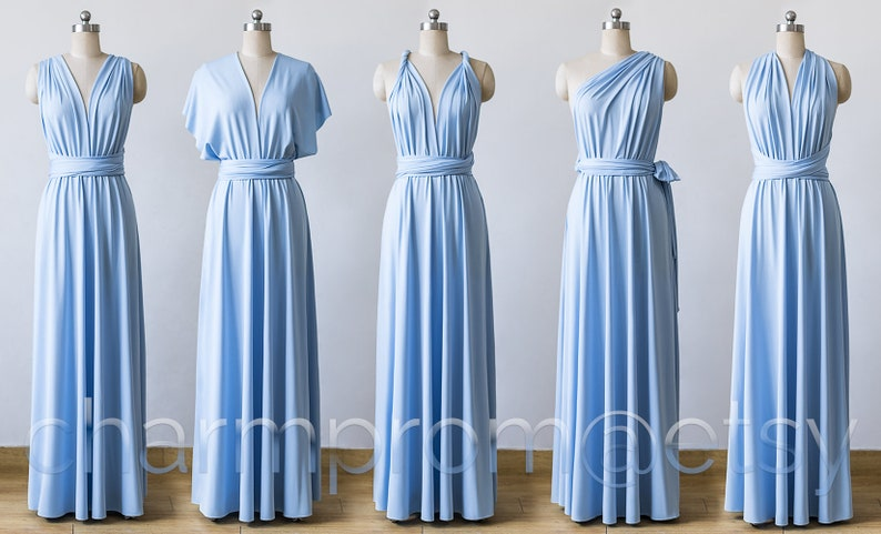 613144ca40ce Light Blue Maxi Infinity Dress Convertible Bridesmaid Dress | Etsy