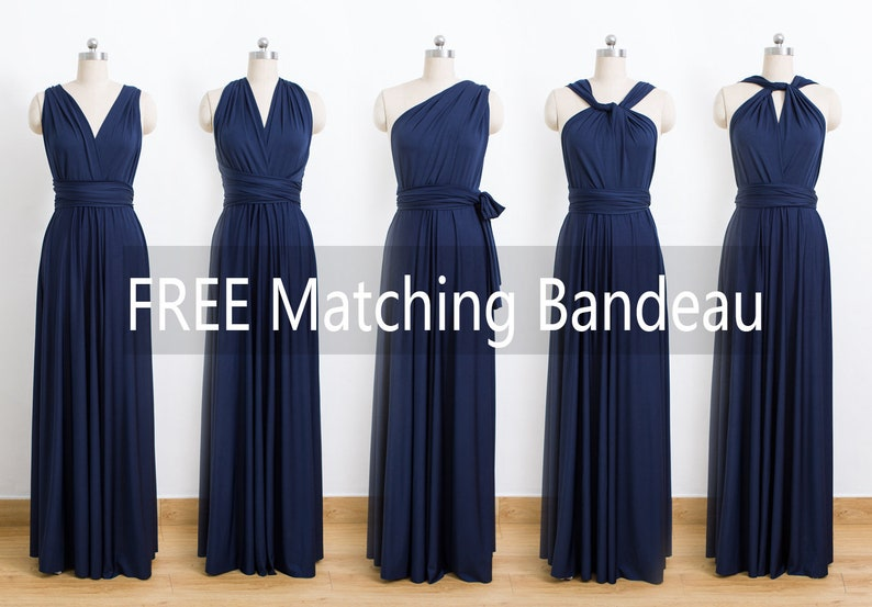 Convertible Bridesmaid Dress formal Dress Wrap Dress Navy Blue Maxi Infinity Dress cheap prom dress Evening Dress,Multiway Dress