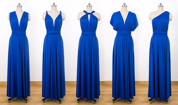 Royal Blue Maxi Infinity Dress Convertible Bridesmaid Dress | Etsy