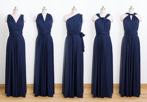 Navy Blue Maxi Infinity Dress Convertible Bridesmaid Dress
