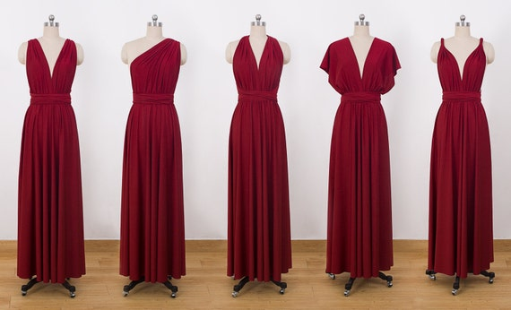 99afeb9aa12 Burgundy Maxi Infinity Dress Convertible Bridesmaid Dress