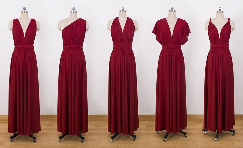 9bd77b8c0808 Burgundy Maxi Infinity Dress Convertible Bridesmaid Dress | Etsy