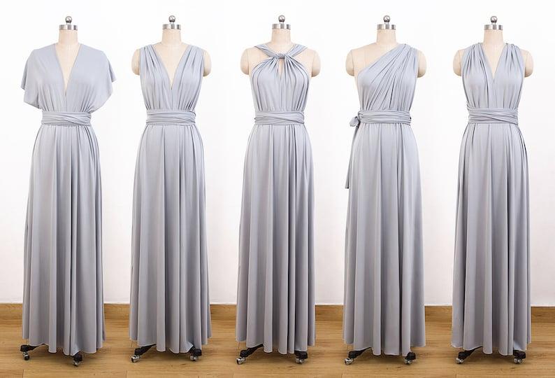 ba4bcb126678 Gray Maxi Infinity Dress Convertible Bridesmaid Dress cheap | Etsy