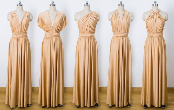 Gold Maxi Infinity Dress Convertible Bridesmaid Dress