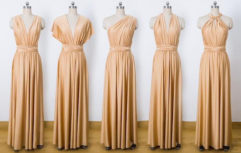 d22cd3bb1172 Gold Maxi Infinity Dress Convertible Bridesmaid Dress cheap   Etsy