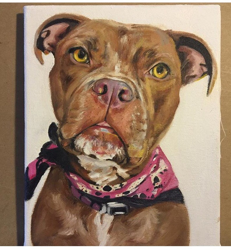 Hand Painted Commission Dog Oil Painting On Canvas Custom Pet Art With Clothes