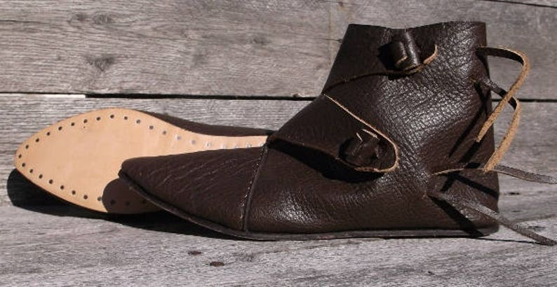 29778ebc11941 Viking 2 Toggle Boots Mens Size 14 Dark Brown Viking Shoes, Medieval Ankle  Shoes, Renaissance Shoes, Costume Shoes, Reenactment shoes, LARP