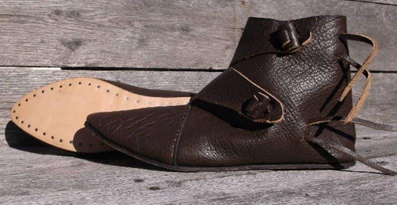 7ab1c998fbd58 Viking 2 Toggle Boots Mens Size 10 Dark Brown Viking Shoes, Medieval Ankle  Shoes, Renaissance Shoes, Costume Shoes, Reenactment shoes, LARP