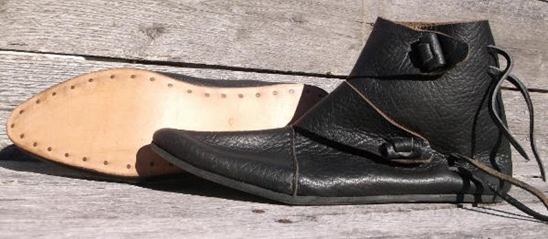 846487e396648 Viking 2 Toggle Boots Mens Size 14 Black Viking Shoes, Medieval Ankle  Shoes, Renaissance Shoes, Costume Shoes, Reenactment shoes, LARP