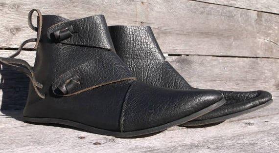 5e4f8cebadd92 Viking 2 Toggle Boots Mens Size 8 Black Viking Shoes, Medieval Ankle Shoes,  Renaissance Shoes, Costume Shoes, Reenactment shoes, LARP