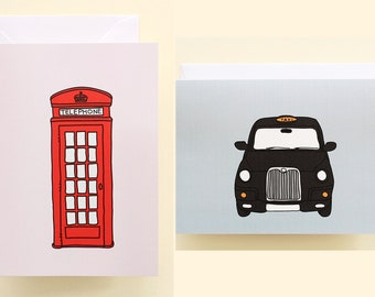 Telephone box & Black cab cards (set)