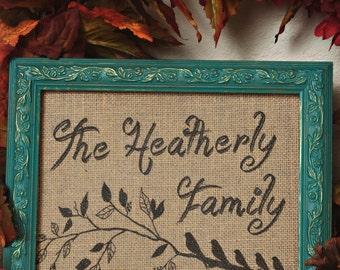 Family Burlap Wall Hanging /burlap personalizedl/burlap print/burlap art/anniversary gift /wedding/bridal shower/Family Initial/SALE
