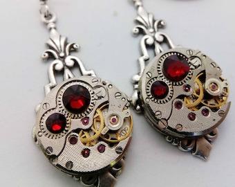Art Deco Steampunk Earrings in Red - Steampunk earrings - Art Deco - Jewelry - steampunk Jewellery - steampunk - gothic earrings - goth