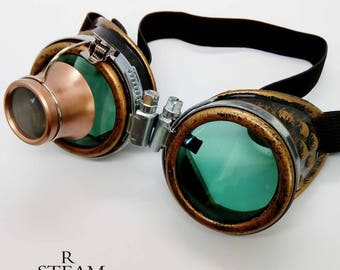 1de31b2a4992 Burning man - Steampunk Goggles - Glasses - welder glasses - steampunk  accessories - madmax goggles with loupe - green - goggles - steampunk