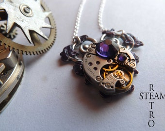 Purple Heart Steampunk Necklace - Steampunk Jewelry - Heart Necklace - Steampunk Jewellery by Steamretro - Christmas gift