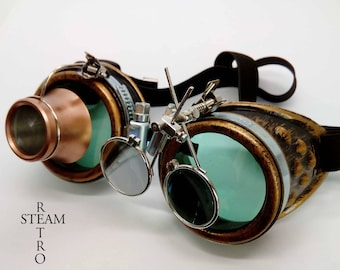 bronze steampunk goggles - double loupe green lens cyber goggles burning man steampunk accessories - steampunk gift - goggles - steampunk