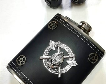 Flask - viking - viking flask - valhalla - steampunk - steampunk - flask hip flask - steampunk hip flask - viking hip flask