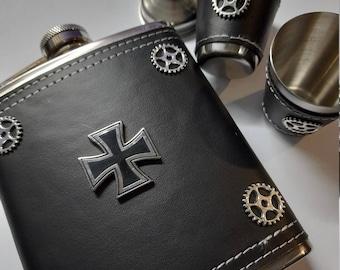 Goth Metal flask and cup set - mens gift - biker flask - mens flask - Iron Cross flask - metalheads flask - hip flask - groomsman gift