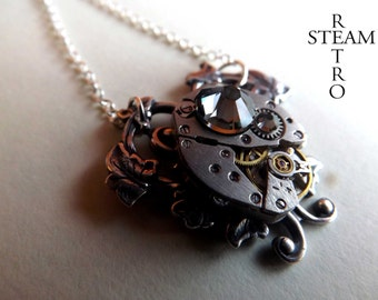 Grey Heart Steampunk Necklace - Steampunk Jewelry - Heart Necklace - Steampunk Jewellery by Steamretro -personalized jewelry