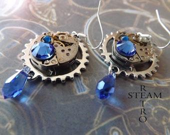 Vintage Watch Movement Steampunk Swarovski Crystal Saphire Earrings - Steampunk Jewelry - Christmas gift