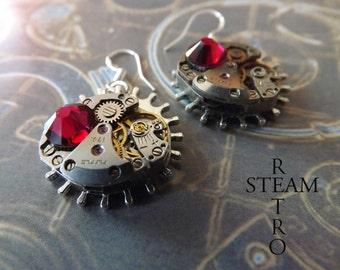 Vintage Watch Movement Steampunk Swarovski Crystal Ruby Earrings - Steampunk Jewelry  personalized jewelry