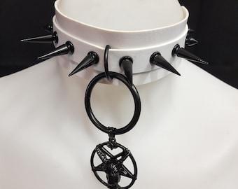 Gothic choker - choker - spiked choker - white satanic nuns choker - pagan - pentagram choker - baphomet choker - satanic - witchcraft