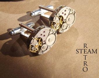 diamond cufflinks - Steampunk Cufflinks - Steampunk Accessories -Wedding Cufflinks - Soldered Cufflinks - steampunk- steampunk cuff links