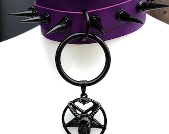 Gothic choker - choker - spiked choker - purple choker - pagan - pentagram choker - baphomet choker - satanic - witchcraft