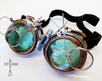 Steampunk Goggles Glasses AVIATOR cyber gothic welder glasses steampunk accessories madmax goggles double loupe green - goggles - steampunk