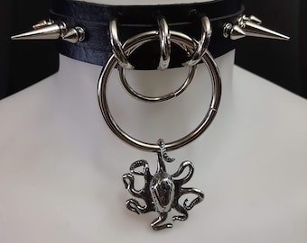 Quality faux Leather Choker - Spiked octopus choker - kraken Choker - Metal Choker - Goth Choker - Gothic Choker - Darkwave Choker