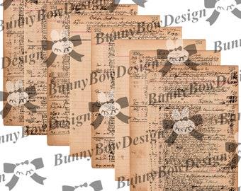 Vintage Ledger - 8 script pages from 1918 - Digital - BBs565