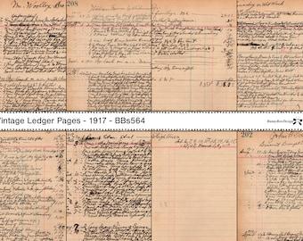 Vintage Ledger - 8 script pages from 1917 - Digital - BBs564