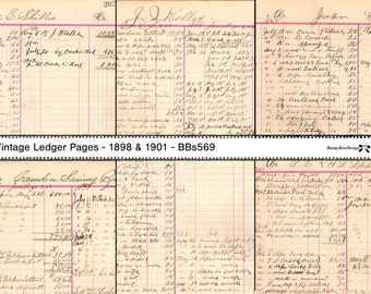 Vintage Ledger - 12 pages from 18984 and 1901 - Digital - BBs569