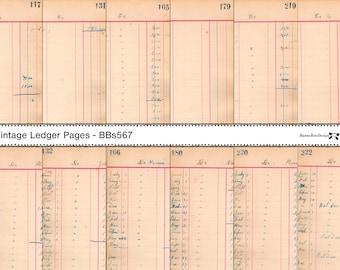 Vintage Ledger - 12 script pages - Digital - BBs567
