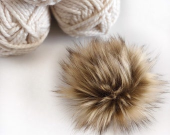 2355de07c93 CARAMEL Faux Fur Pom Pom Tan Brown Beige Large Fluffy Vegan Cruelty Free Fake  Fur Pom Pom