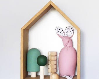 Bunny RATTLE, soft toy,comforter, Mint/Blue/Pink and Black and White polkadots, Billie the bunny
