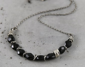 Black onyx and silver necklace, delicate necklace for women, romantic necklace gift for wife, natural jewelry, unique necklace