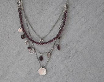 Garnet necklace, layered necklace for women, boho necklace, garnet jewelry, multistrand necklace, charm necklace, raw silver necklace