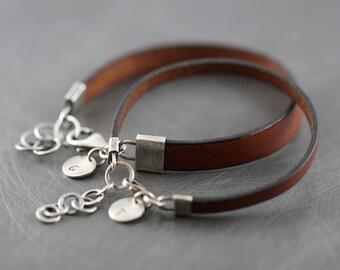 His and hers bracelet, matching couple bracelets, personalized bracelets, leather bracelets, sterling silver bracelets, trending items